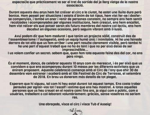 MANIFEST DELS 10 ANYS DE TUB D'ASSAIG